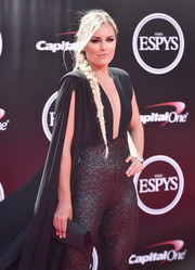 Lindsey Vonn looked perfectly coordinated at the ESPYs, sporting this beaded black clutch and sparkly jumpsuit combo.