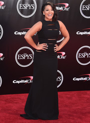 Gina Rodriguez went for edgy glamour in a slashed black gown for her 2016 ESPYs look.