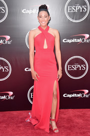 Christen Press went sultry in a red cutout halter gown for the 2016 ESPYs.