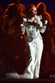 Lady Gaga looked like a cross between David Bowie and Elvis when she wore this embellished white Marc Jacobs pantsuit for her Grammys performance.