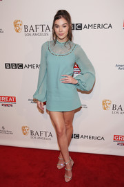 Hailee Steinfeld was a '60s babe in a tiffany-blue Elie Saab mini dress with an embellished neckline and blouson sleeves during the BAFTA tea party.