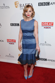 Christina Ricci completed her all-blue outfit with a pair of Giuseppe Zanotti pumps.