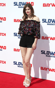 Alexandra Daddario went boho-chic in a printed off-the-shoulder top at the 'Baywatch' SlowMo Marathon.