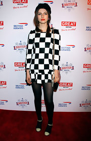 Tali Lennox opted for a totally mod look with this black and white checkered dress.