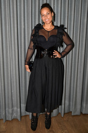 Alicia Keys hit the Brooklyn Artists Ball 2017 wearing a sheer-panel LBD with ruffle detailing.
