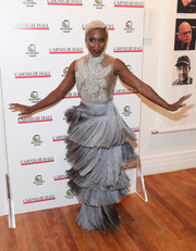 Cynthia Erivo twirled in a fringed, sheer-bodice gown by Christopher Palu New York at the Children's Monologues event.