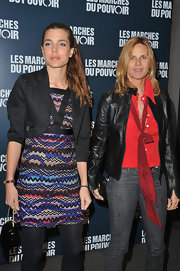 Charlotte Casiraghi wore a eye-catching print dress under a cropped blazer for the premiere of 'The Descendants.'