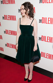 Winona Ryder looked demure in classic pumps. The basic heels were the perfect choice for her knockout green velvet dress.