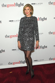Christine Baranski glistened in a silver and black sequin dress by Saint Laurent at the world premiere of 'The Good Fight.'