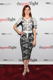 Carrie Preston went for easy sophistication in this mixed-pattern shirtdress at the world premiere of 'The Good Fight.'