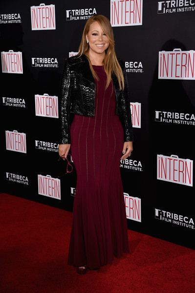 Mariah Carey wrapped up her voluptuous figure in a burgundy mermaid dress by Azzedine Alaia for the New York premiere of 'The Intern.'