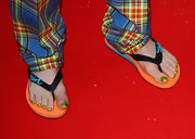 Corey Taylor wore flip-flops at the 2009 Kerrang! Awards probably to show off his fab metallic green nail polish.