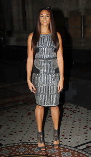Alesha Dixon's strappy black ankle-wrap sandals and studded dress were an ultra-chic pairing.