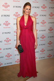 Jenni Falconer was a vision of loveliness in her raspberry-hued, floaty halter-neck gown.