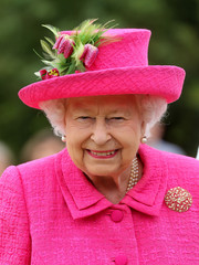 Queen Elizabeth II visited the National Institute of Agricultural Botany wearing a feather-embellished fuchsia hat.