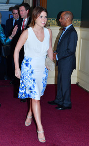 Princess Eugenie went for simple styling with a pair of nude ankle-strap peep-toes by Rupert Sanderson.