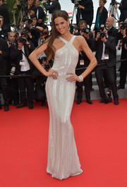 Izabel Goulart was white-hot in a crisscross-neckline beaded gown by Roberto Cavalli during the premiere of 'The Search.'
