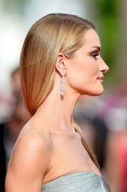 Rosie Huntington-Whiteley got all blinged up in a stunning pair of De Grisogono diamond chandelier earrings for the premiere of 'The Search.'