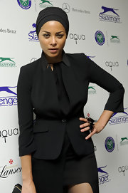 Ana Araujo topped off her all-black ensemble with a turban at the 2012 Slazenger party.