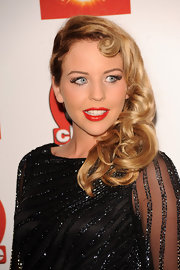 Lydia Bright exuded classic beauty in a retro hairstyle at the TVChoice Awards.