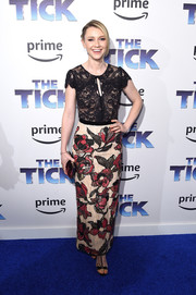 Valorie Curry attended the premiere of 'The Tick' wearing a Marchesa Notte dress featuring a black lace bodice and a floral-beaded skirt.
