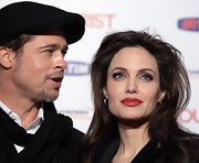 Angelina wears a bold red lip for the Rome premiere of 'The Tourist.'