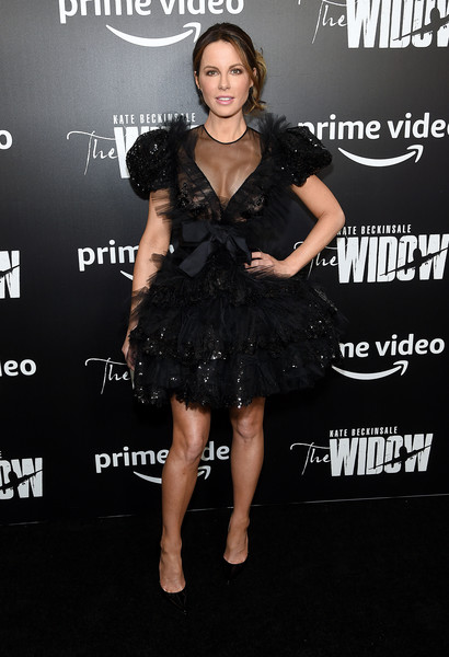 Kate Beckinsale gave us Black Swan vibes with this beaded tutu dress by Giambattista Valli Couture at the New York premiere of 'The Widow.'