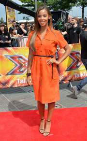 Rochelle Humes arrived for the 'X Factor' London auditions looking bright in her orange Victoria Beckham shirtdress.