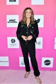 Rita Wilson was pajama-chic in a loose, embroidered black button-down at TheWrap's Power Women Summit 2019.