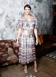 Gemma Arterton looked effortlessly glam in a swirl-patterned sequin jumpsuit by Temperley London at the BFI London Film Festival after-party for 'Their Finest.'