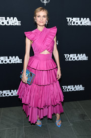 Diane Kruger looked ultra girly in a tiered fuchsia cutout dress by Prabal Gurung at the 'Thelma & Louise' Women in Motion screening.