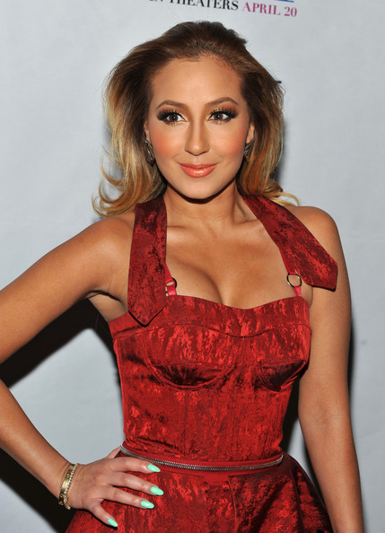 Adrienne Bailon showed off her minty green manicure at a screening of 'Think Like a Man.'