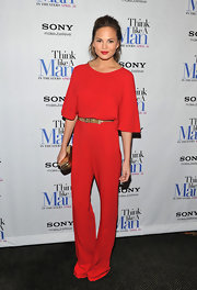 Chrissy Teigen channeled the '70s in this fire red jumpsuit at the 'Think Like a Man' premiere.