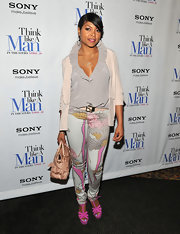 Taraji P. Henson looked artistic at the 'Think Like a Man' premiere in these floral print jeans.