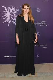 Princess Beatrice graced the Berggruen Prize Gala wearing a fringed black coat by Galvan over a matching gown.