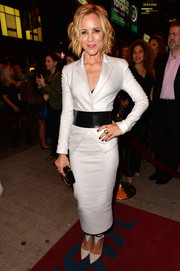 Maria Bello looked fiercely chic in a silver skirt suit cinched with a wide black belt during the premiere of 'Third Person.'