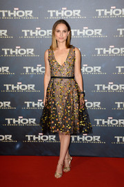 Natalie Portman looked dreamy in a floral-appliqued sheer overlay dress by Christian Dior Couture during the Paris premiere of 'Thor: The Dark World.'