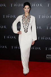 Jaimie was a bejeweled beauty in a floor length white gown at the 'Thor' premiere.