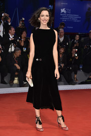 Rebecca Hall added a subtle splash of color with a pair of dusty-pink ankle-tie peep-toes by Pierre Hardy.