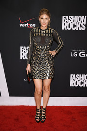 Hofit Golan brought major edge to the Fashion Rocks red carpet with this studded and sequined mesh-panel mini dress.