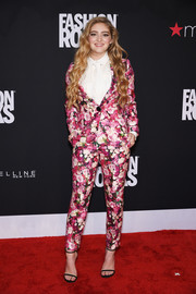 Willow Shields went for ultra-feminine appeal in a pink floral pantsuit by Kate Spade New York during Fashion Rocks 2014.