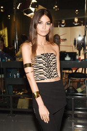 Lily Aldridge got all blinged up with a chunky gold cuff and a duo of armlets for Fashion Rocks 2014.