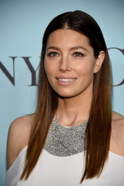 Jessica Biel stuck to her signature straight center-parted style when she attended the Tiffany & Co. Blue Book Gala.