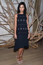Leigh Lezark cut a girly figure in a navy dress with a floral-patterned bodice during the Tiffany & Co. 2015 Blue Book celebration.