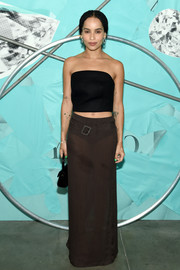 Zoe Kravitz kept it super simple in a black tube top by Prada at the Tiffany Blue Book Collection celebration.