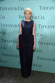 Michelle Williams rocked a navy blue structured gown at the Tiffany's Blue Book Ball.