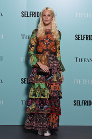 Poppy Delevingne rocked a colorful mishmash of prints in this Valentino maxi dress during the Tiffany & Co. 'Fifth and 57th' exhibition opening.
