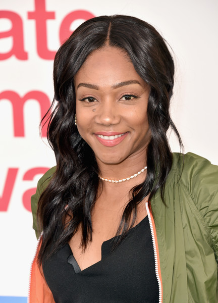Tiffany Haddish Long Wavy Cut [hair,hairstyle,eyebrow,black hair,long hair,layered hair,beauty,forehead,chin,lip,hunter for target ultimate family festival,tiffany haddish,target ultimate family festival,brookside golf club,pasadena,california]