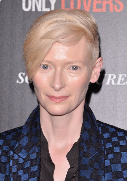 Tilda Swinton Emo Bangs [only lovers left alive,of w magazine,host a screening of sony pictures classics,hair,face,hairstyle,eyebrow,blond,forehead,chin,head,cheek,lip,arrivals,stefano tonchi,editor in chief,tilda swinton,screening,cinema society,sony pictures classics]