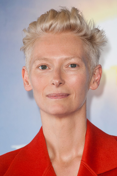 Tilda Swinton Fauxhawk [snowpierce,snowpierce photocall - the 39th deauville film festival,hair,face,hairstyle,chin,eyebrow,blond,forehead,cheek,lip,jaw,tilda swinton,deauville,france,photocall,deauville american film festival]